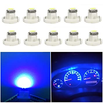 WLJH 10x Blue T4 2 Neo Wedge Led 3030 Chipest 10mm Base Led Car Instrument  Cluster Led Bulb Dashboard Heater Bulb HVAC AC Climate Control Lamps Radio