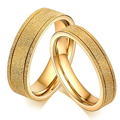 AnaZoz 18K Gold Plated Stainless Steel Couple Ring for Valentine Lover Engagement Promise Wedding Band Size 9