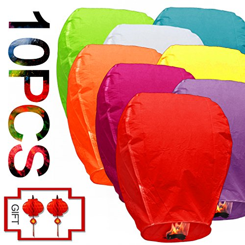 Love Biodegradable Paper Bulk Assortment Romantic Night Blue Red and Other Mixed Colors With Lantern Lights Gift 10 pack For Party Sea Beach Vacation Holiday (10 Chinese Paper Lanterns)