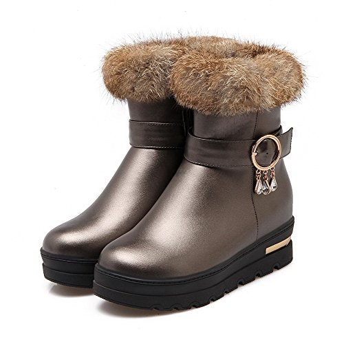 Toe Zipper Kitten Closed PU Round Boots top Heels Women's Silver Low Allhqfashion qI6wxUnBx