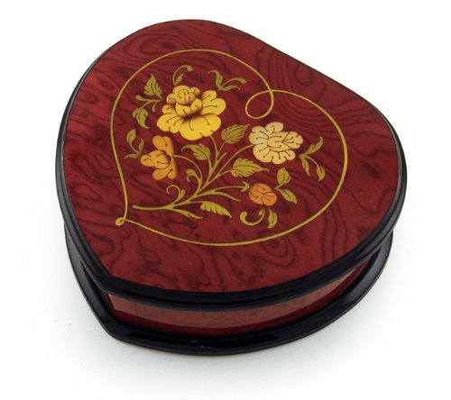 Exclusive Red Wine Heart Shaped Floral Inlay Music Jewelry Box - La Vie En Rose by MusicBoxAttic