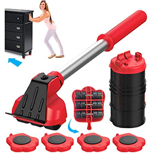 Heavy Duty Furniture Lifter with 4 Sliders for Easy and Safe Moving, Appliance Roller Suitable for Sofas, Couches and Refrigerators, Adjustable Height Load Capacity 660lbs Per Wheel Mega Mover