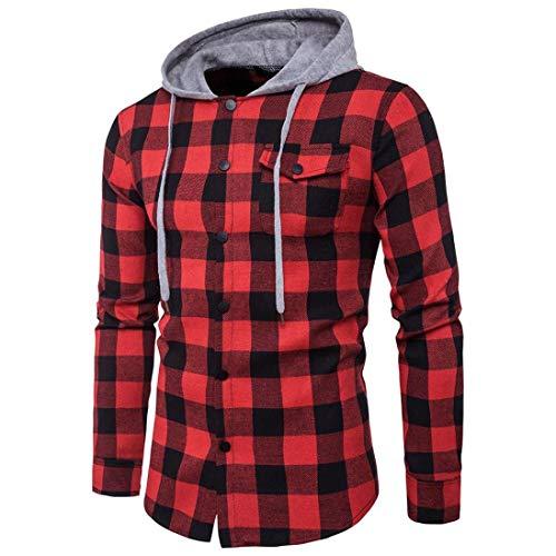 WUAI Men's Shirts Long Sleeve Checkered Classic Slim Fit Plaid Button Down Shirt Hoodie Sweatshirt(Red,US Size L = Tag XL) (Red Classic Hoody Sweatshirt)