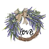 FAVOWREATH 2018 Love Series FAVO-W113 Handmade 14 inch Purple Lavender,Burlap Bow,Wild Grass,Love Letter for Front Door/Wall/Fireplace Wedding Floral Hanger Nearly Natural Everyday Wreath Home Decor