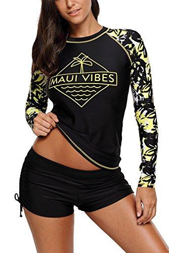 HOTAPEI Womens Sleeve Swimwear Swimsuit