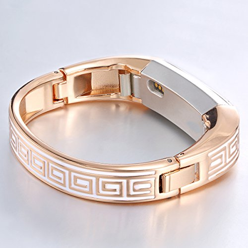 Famobest For Fitbit Alta HR Bands Fitbit Alta Bands For Women Men, Stainless Steel Alta Fit bit Bands Alta Fitbit Bands Fitbit Alta Replacement Bands Wristbands Small Large Greek Key Rose Gold ()