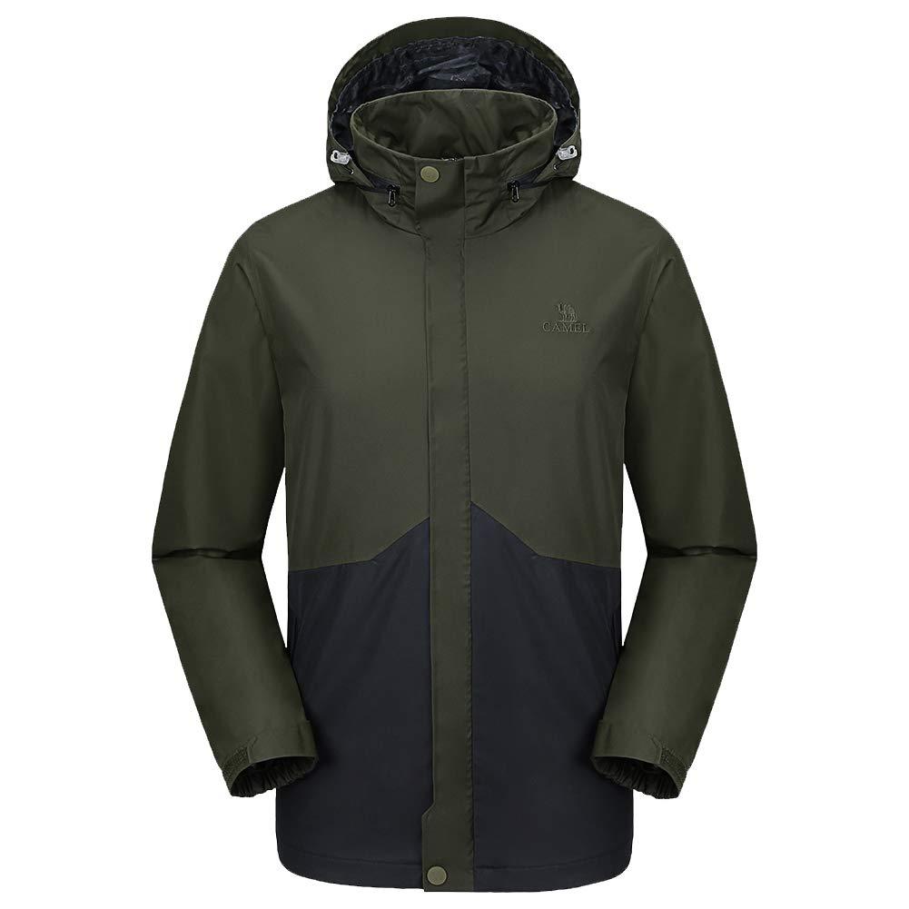194950bb6 CAMEL CROWN Mens Waterproof Jacket Hooded Windbreaker Windproof Rain Coat  Shell for Outdoor Hiking Climbing Traveling