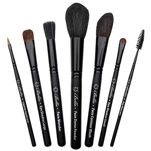 Bella Complete Makeup Brush Set (7-Piece) | Handmade in USA | Face Dome Powder, Contour Blush, Eye Mascara, Lipstick Applicator, and Large & Small Cosmetic Brushes | Full Make Up ()