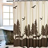 Deer in the Forest Bathroom Shower Curtain, Uphome 72 X 72 Inch Natural Waterproof Beige and Coffee Mildewproof Polyester Fabric Kids Bathroom Curtain Designs