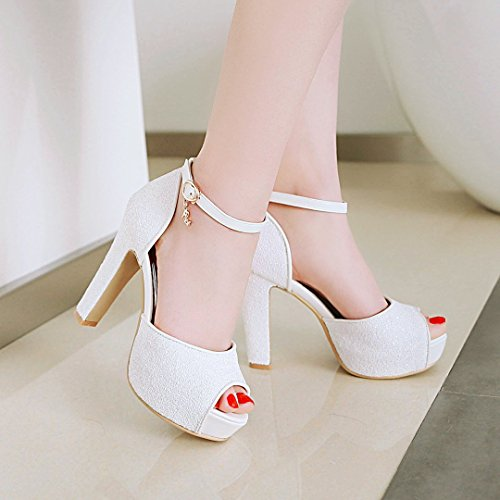 Gruesa de 31 Boca con Alta tamaño 32 Impermeable para Zapatos 3 de Boda Moda pez Verano Color Sandalias 43 con Sandalias de Brillante Alto tacón Mujer de Mujer Plataforma de q6vx0