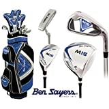 Ben Sayers +1 Inch Longer M15 Complete Golf Club Set Cart Bag Mens New Graphite Shafted Woods and Steel Shafted Irons Head Covers + FREE Ben Sayers Golf Umbrella & Society Pack Worth £24.00