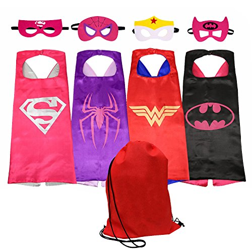 SPESS Comics Cartoon hero Costumes 4Pcs Girl Capes and Masks with (Girl Comic Costumes)