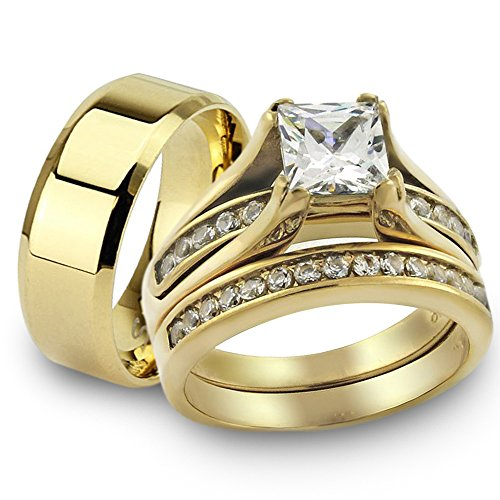 Her & His 14K G.P. Stainless Steel 3pc Wedding Engagement Ring & Men's Band Set Women's Size 09 Men's 06mm Size 09