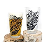 Kraken Sinking Submarine Glasses - Screen Printed Pint Glasses - Set of Two 16oz. Pint Glasses