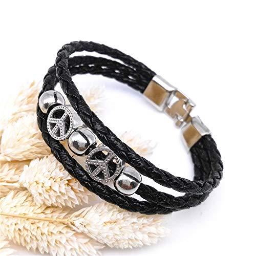 - Tibetan Silver Peace Sign Punk Cuff Style Charm Leather Bracelet Bangle Jewelry