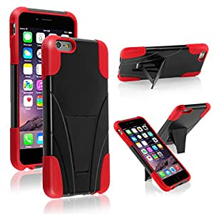 iPhone 6 Plus Case, Insten T-Stand Cover Case compatible with Apple iPhone 6 Plus (5.5), Black/Red