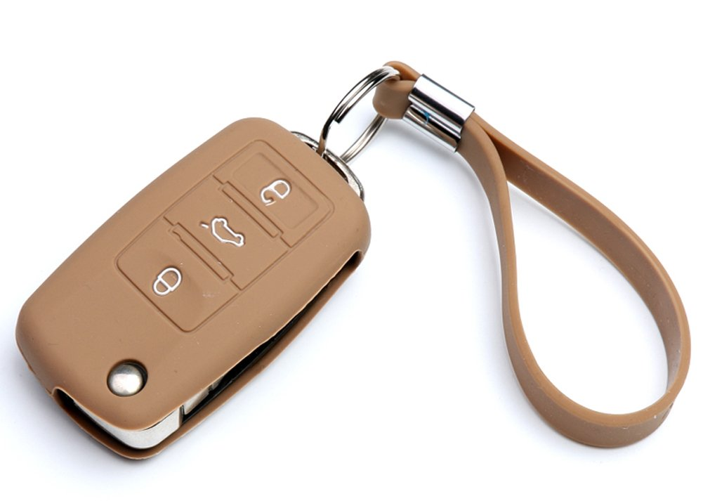 MioCloth Silicon Car Smart Remote Key FOB Cover Protector Holder Case for Volkswagen VW SANTANA Lavida Jetta Bora Passat Tiguan 3 Botton Fob Key Black