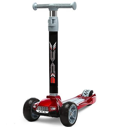 Patinete Scooter Plegable para niños de Color Rojo con Faros ...