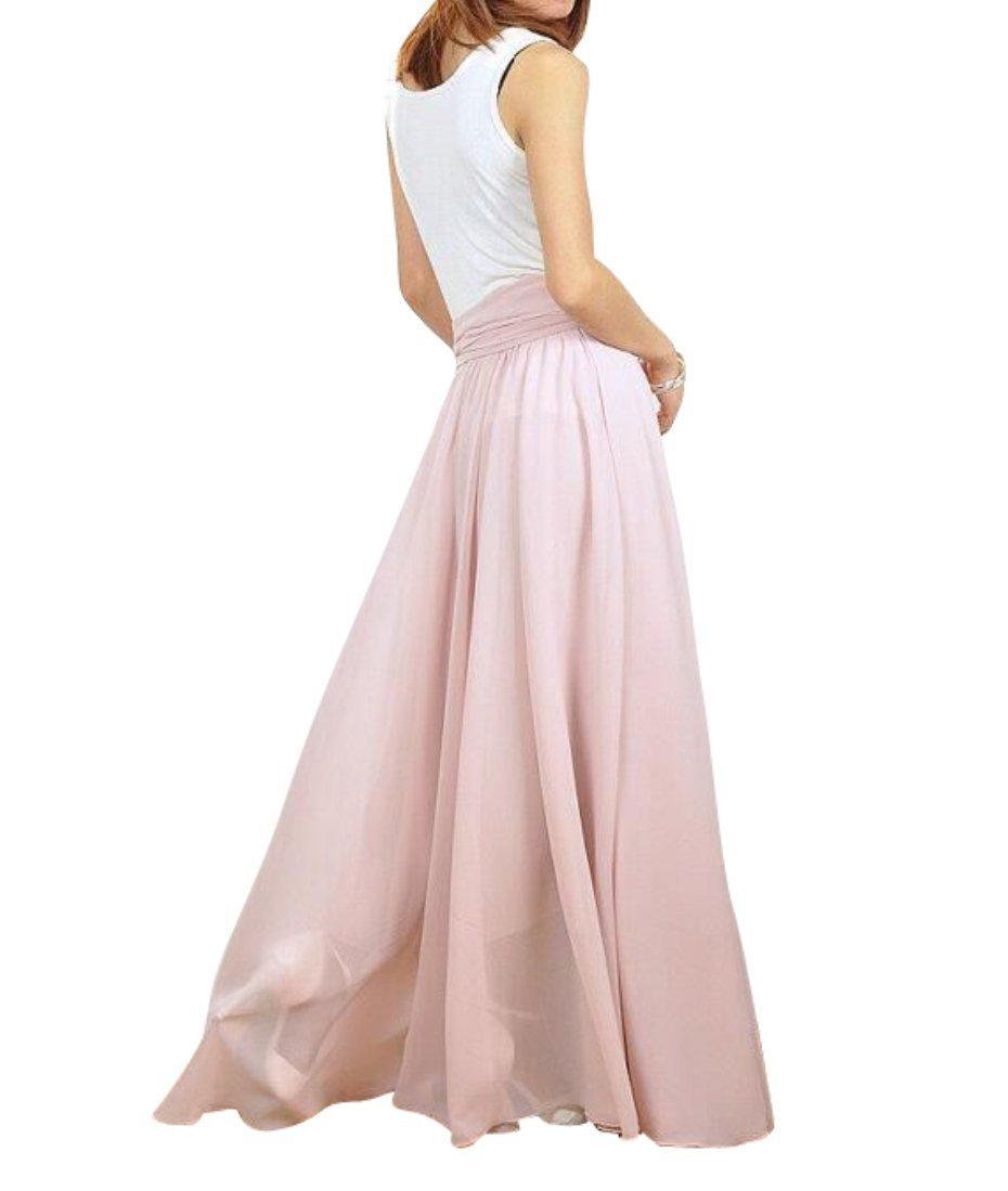 Melansay Women's Beatiful Bow Tie Summer Beach Chiffon High Waist Maxi Skirt XL,Nude Pink