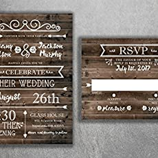 Amazon Com Country Wedding Invitations Set Printed Rustic Wedding
