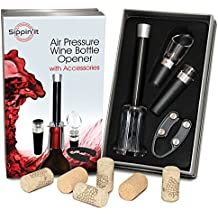 Sippin'It Wine Opener ✮ Best Gift for Wine Lovers ✮ Plus Wine Stopper, Wine Aerator Pourer & Foil Cutter