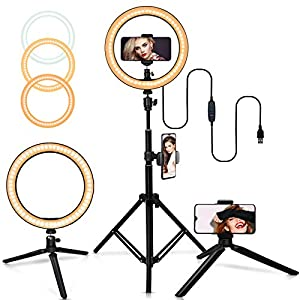 """Best Epic Trends 514eqIdk3sL._SS300_ Belifu 10"""" Selfie Ring Light with Adjustable Tripod Stand, 3 Modes 10 Brightness Levels, LED Ring Light with Phone Holder for Vlogs, Live Stream, Phone,YouTube,Self-Portrait Shooting"""