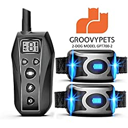 GROOVYPETS 650 Yard Remote Dog Training Collar w/Beep, Vibration and Waterproof 40 Days of Rechargeable Collar