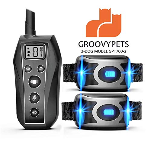 GROOVYPETS 2000 Feet Remote Dog Training Shock Collar w/Safe Humane Beep, Vibration, Static Shock and Waterproof Long Lasting Rechargeable Battery for Small Medium Large Dogs