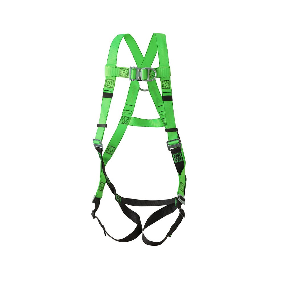 Peakworks Fall Protection V8002020 Industrial / Contractor Harness ( Class L  ), Front and Back D-Ring, Universal Fit, Hi-Vis Green