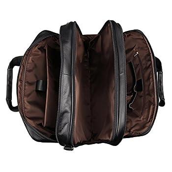 Image of Expandable Premium Leather Briefcase 15.6 17.3 Inch Laptop Bag, Multi-function Vintage Handcrafted Business Handbag Shoulder Bag for Men Briefcases