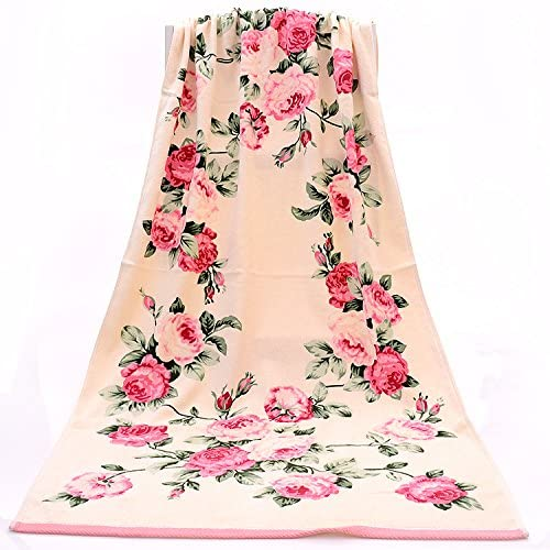 Amazon.com: HNK 100% Cotton Roses Floral Printed Large Bath Towel Set for Body & Face High Grade Quick Dry (Pink, Body75X140cm): Kitchen & Dining