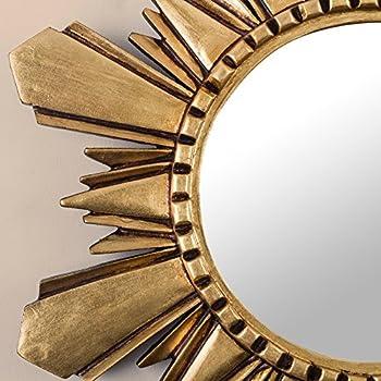 NOVICA Leaf Round Starburst Mohena Wood with Bronze Wall Mounted Mirror, Metallic Cuzco Sun