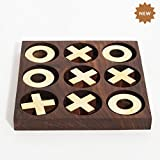 Rusticity Wood and Brass Tic Tac Toe Game | Handmade | (6.5x6.5 in)