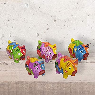 Vie Naturals Abstract Pig Carving, Painted-Set of 5 (4 cm), Various, One: Home & Kitchen