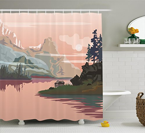 Ambesonne Nature Shower Curtain, Lake Valley with Mountain Paint Forest River Rocks Landscape Image, Fabric Bathroom Decor Set with Hooks, 70 inches, Peach Light Pink Olive Green