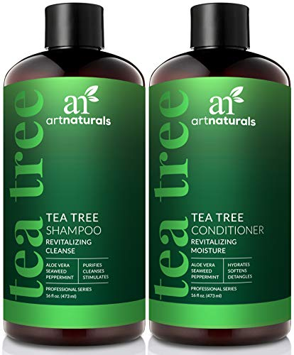 ArtNaturals Tea Tree Shampoo and Conditioner Set - (2 x 16 Fl Oz / 473ml) – Sulfate Free – Therapeutic Grade Tea Tree Essential Oil - Deep Cleansing for Dandruff, Lice, Dry Scalp and Itchy Hair (Shampoo Able Peppermint)