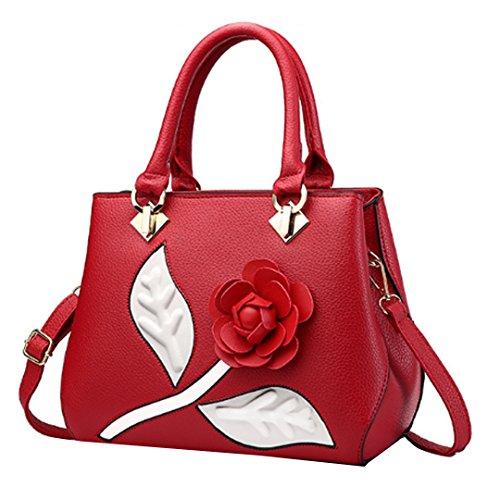 Millya - Bolso de asas para mujer, rojo vino (rojo) - bb-00560-01 rojo vino