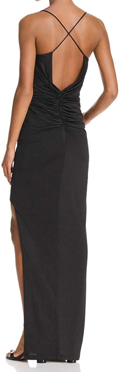 Bariano Women/'s Asymmetric Shirred V-Neck Sleeveless Gown