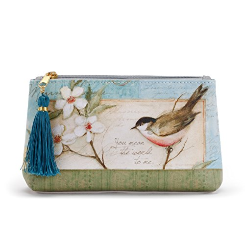 (Lovely Dogwood Bird Women's 8 x 5 Inch Vegan Leather Zipper Cosmetic Bag Pouch)
