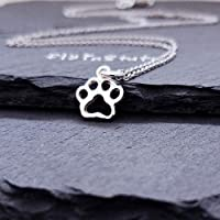 """Sterling Silver Tiny Paw Print Charm Necklace 18"""""""