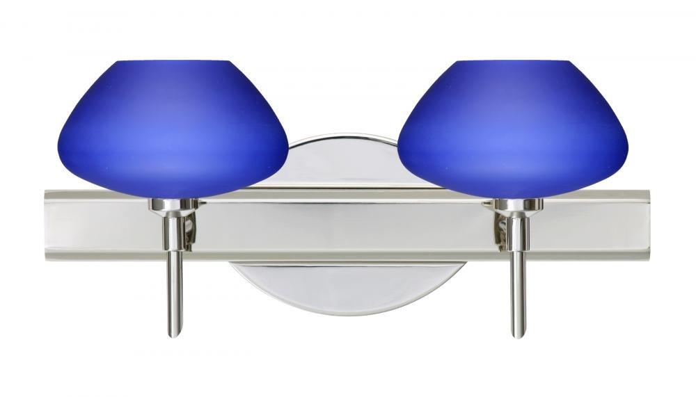 Besa Lighting 2SW-541087-CR 2X40W G9 Peri Wall Sconce、ブルーマットガラス、クローム仕上げ   B00CIDNTW8