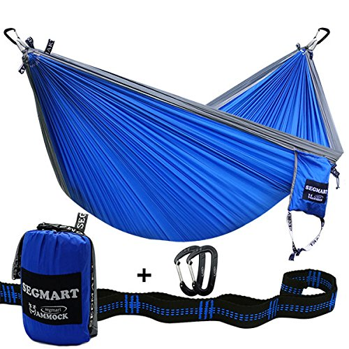 SEGMART Double XL Hammocks with Hammock Straps & Carabiners - Blue/Silver