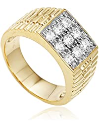 Men's Goldtone Cz Ribbed Square Ring Sizes 7-17 (PI-L1FE-KGQX)