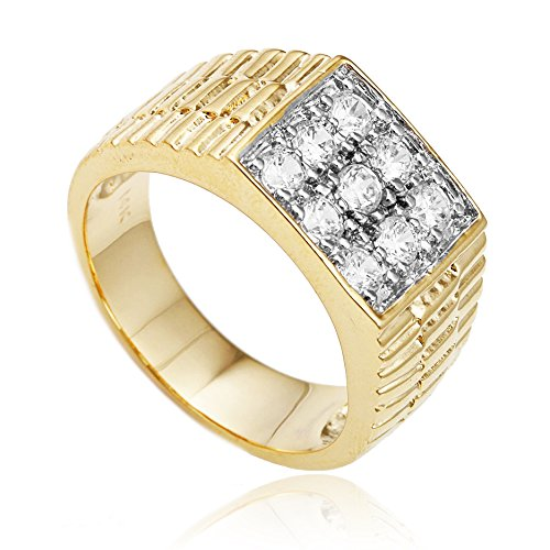Men's Goldtone Cz Ribbed Square Ring Sizes 7-17 (D-924- 12)