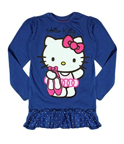Hello Top Kitty blu navy lunga manica tunica XdXrxIwq