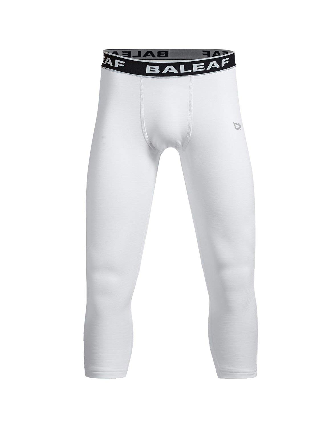 BALEAF Youth Boys' Compression Pants 3/4 Leggings Sports Tights Football Basketball Baselayer White Size M by BALEAF