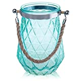 MyGift 8-Inch Aqua Glass Diamond Cut Vase with Twisted Rope Handle