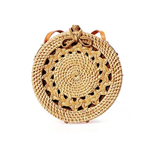 """Ugur's Store 7.87"""" Braid Rounded Handwoven Women Rattan Bag with Cotton Liner, Leather Strap Boho Style (Modern)"""