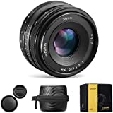 CRAPHY 35mm f/1.7-f/22 Manual Focus Prime Camera Lens Large Aperture Lens with Cleaning Wipe for Sony E-Mount Digital Cameras NEX 3, NEX 3N, NEX 5, NEX 5T, NEX 5R, NEX 6, 7 A5000, A5100, A6000, A6100