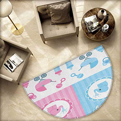 Gender Reveal Bath mats for Floors Elephants Girl Boy Kids Newborn Composition with Baby Shower Icons Bathroom Mats Half MoonH 70.8'' xD 106.3'' Pale Pink and Blue by homehot (Image #4)